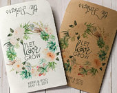 Seed Packets Wedding Favors Gifts Let Love Grow sets of 25 Rustic, Kraft, Flower, Gifts, Personalized, Custom, Bridal, Shower Succulents