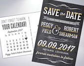 Save The Date Postcard Chalkboard Engagement Announcement Printable Digital Custom Wedding Announcement with Calendar