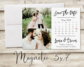 5x7 inch Two Photo Calendar Save The Date Magnet, Magnet Save the Date, Photograph Save the Date, Save the Date with Photo, Heart, Simple
