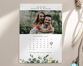Save the Date Template Greenery Wedding Save the date Photo Calendar Save the Date Editable invite save our date invitation Templett DIY 15