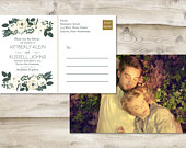 Floral Save The Date Postcard, Postcard Save the Date, Photograph Save the Date, Greenery Save the Date, Save Our Date, Ivory, White, Green