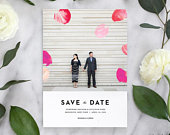 Elegant Save the Date, Modern Save the Date, Photo Save the Date Card, Printed Save the Date, Save the Date card with photo,