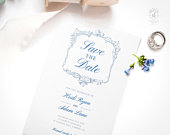 Wedding Save the Date Template Elegant Parisian inspired design with vintage frame instant download. sh06