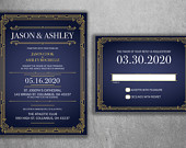 Art Deco Gold and Navy Blue Wedding Invitations Set Printed Cheap Wedding Invitations, Affordable Wedding Invitations, Elegant, RSVP, 50s
