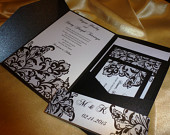 Lace Invitation , Black Wedding Invitation(sample) Black Lace thermographic printing available at request