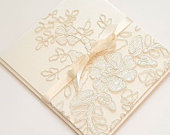 Delicate Alencon Lace Fabric Pocketfold Wedding Invitation Suite