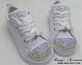 AB Crystal Converse Shoes For Toddler Girls / White Leather Shoes Converse /Wedding Lace Converse / No Stripes / Baby Toddler Girls