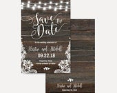 Dark Wood Lights and Lace Save The Date Cards Template, Save The Date Template with Photo, Cheap Online Wedding Save The Date, Hadley Design