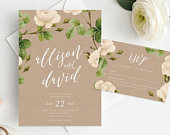 Wedding Invite and RSVP Card INSTANT DOWNLOAD, Set, Suite, Wedding Invitation, Diy Printable Invitation, Templett, Editable pdf, Vintage