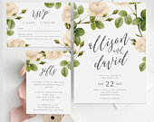 Wedding Invite RSVP Card and Wishing Well INSTANT DOWNLOAD, Wedding Invitation, Diy Printable Invitation, Templett, Editable pdf, Vintage