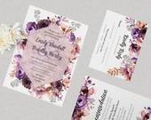 Vintage Blossom Wedding Invitation Stationary Packs of 10, Stickers pack of 24