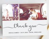 Thank You Photo Card Template (5x7) DIY Wedding cards Edit,Personalize Print At Home (The One Collection)