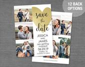Save The Date Card or Postcard with Photos Printed or Digital File, Save Our Date Card, Pictures, Photos, Wedding, Gold Heart, 3H