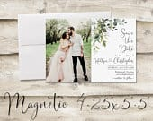 4.25x5.5 inch Greenery Save The Date Magnet, Magnet Save the Date, Photograph Save the Date, Save the Date with Photo, Floral Save the Date