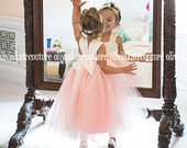 Blush Flower Girl Dress, Full Length Dresses, Princess Toddler Tulle Flower Girl Dresses, Tutu Dresses, Weddings