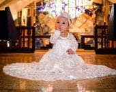 Baptism Dresslvory Lace Long Sleeve Dress Baby Flower Girl Dress Dresses Ivory Girls DressCream Dress Rustic Wedding Dress