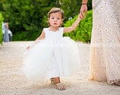 Ivory Tulle Tutu Flower Girl Dresses, Princess Toddler Baby Wedding Flower Girls Dress