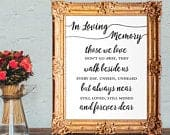 Wedding memorial sign in loving memory those we love dont go away they walk beside us everyday 8x10, 5x7 Printable