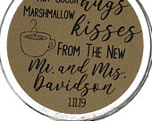 2 Personalized Round Rustic Kraft Brown Peel Stick Stickers Hot Cocoa Hugs Marshmallow Kisses Mr Mrs Hot Chocolate Wedding Favor Labels