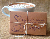 Hot Chocolate Wedding Favors. Unique wedding favors. Set of 20 with Custom Stamp