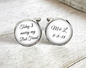 Personalized Cuff Links for Groom, Mens Custom Wedding Cufflinks, Initial Cufflinks, Wedding Date Keepsake, Gift For Groom, Gift From Bride