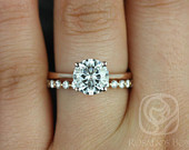 2ct Skinny Flora 8mm Petite Naomi 14kt Rose Gold Forever One Moissanite Diamonds Thin Round Solitaire Wedding Set Rings,Rosados Box