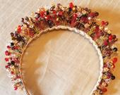 Glorious beaded gold, red, black tiara headband