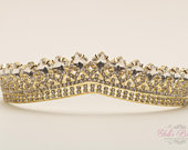 FAST SHIPPING! Gold Sparkling Tiara, Crystal Tiara, Wedding Tiara, Crown, Princess Tiara, Quinceaera, Sweet 16 Tiara, Bridal Tiara