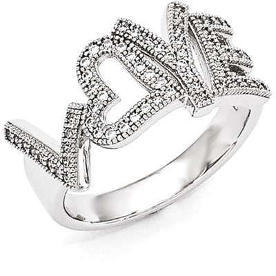 Brilliant Embers CZ Love Ring in Sterling Silver