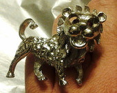 Lion Ring, Big Lion Ring, Lion Statement Ring, Silver Lion Ring, Lion Lover Ring, Lion Cocktail Ring, Animal Lover