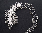 White flower Pearl Clear Rhinestone Silver Tone Hair Clips Combs Wedding Bridal Princess Floral FP0321