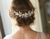 Pearl Bridal Comb, Pearl Wedding Hair Comb, Floral Bridal Hair Comb, Bridal Accessory, Bridal Back Piece, Wedding Back Comb, Bride TC7012