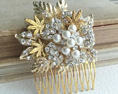 weed wedding comb, Marijuana Gold Pearl Comb, stoner gift,bridal comb,rose classy wedding weed cannabis gift stoner accessories CLUSTER