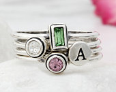 Sterling Silver Personalized Birthstone Stacking Rings and Initials Rings. Mothers Rings! BEST SELLER