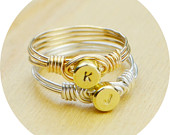 Any Initial Ring Sterling Silver or Gold Filled Wire Wrapped Ring Any Size Size 4, 5, 6, 7, 8, 9, 10, 11, 12, 13, 14