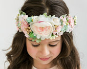 Blush Pink Flower Crown, Flower Tiara, Floral crown, Flower Halo, Bohemian flower crown, Bridal Crown, Flower girl Crown, Floral Hair Wreath