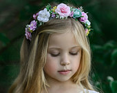 Spring Flower Crown, Flower Tiara, Floral crown, Flower Halo, Bohemian flower crown, Bridal Crown, Flower girl Crown, Floral Hair Wreath