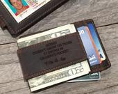 Grandparent Gifts for Christmas Slim Money Clip Leather Wallet, Grandpa Gift Personalized Gift from Granddaughter