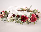 Burgundy and Blush Flower Crown, Burgundy and Blush Winter crown, Burgundy headband. Frosty Winter flower crown