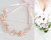 Rose Gold Bridal Headband, Crystal Flower Leaf Bridal Hair Accessories, Boho Hair Vine, Vintage Style Halo, Wedding Hair Jewelry, JESSICA