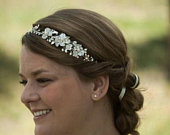 Floral Freshwater Pearl Crystal Bridal Headpiece / Ivory And Champagne Pearl Hair Vine / Flower Halo Hairpiece / Crystal Pearl Headband