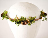 Woodland Flower Crown, Woodland wedding headpiece. Greenery and pine cone headband. Boho flower crown.