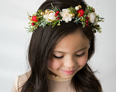 Flower Crown, Winter wedding floral crown, Christmas Halo, Floral Headband, Flower Wreath, Bridal Flower Crown, Bohemian Flower Crown,