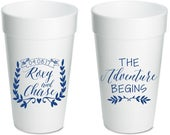 Wedding Cup, The Adventure Begins, Bridal Shower, Cups, Engagement Party Cup, Weddings, Engagement, Custom Cups, Event Cup, Foam Cup, 1680