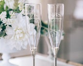 Kate Spade Simply Sparkling Silver Personalized Champagne Glasses (Set of TWO) Custom Engraved Wedding Toasting Flute Engagement Anniversary