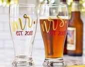 Mr and Mrs beer glasses, custom pilsner wedding glasses with established year. Newlywed gift or engagement present