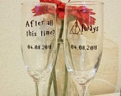 Personalized Harry Potter After all this time? wedding engagement valentines love champagne flutes glasses vinyl