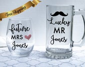 Engagement Gifts for Couple, Future Mrs Wine Glass, Lucky Mr Beer Glass, Bridal Shower Gift, Wedding Planning Glasses, Bride To Be Gift Idea