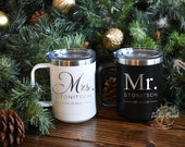 Bride and Groom Mr. and Mrs. Engagement Personalized Stainless Steel Coffee Mug Cup Wedding Holiday Gift Set