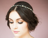 Pearl bridal Crown, Simple Crystal Headband, Narrow Circlet, Beaded Halo, Thin Silver Hairband, Gold Hairpiece, Rose Gold Headpiece CHRISTIE